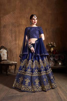 Navy-blue embroidered silk semi stitched lehenga