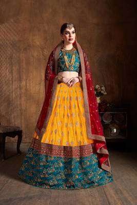Yellow And Green Embroidered Art Silk Wedding Designer Lehenga Choli For Women