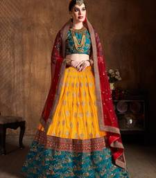 Yellow And Green Embroidered Art Silk Wedding Designer Lehenga Choli For Women
