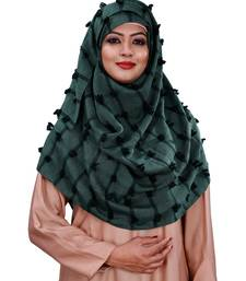 Cyan Color  Pom Pom Viscose Cotton Arabian Scarf Hijab For Women