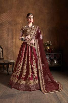 Adorning Maroon Embroidered Art Silk Wedding Designer Lehenga Choli With Dupatta