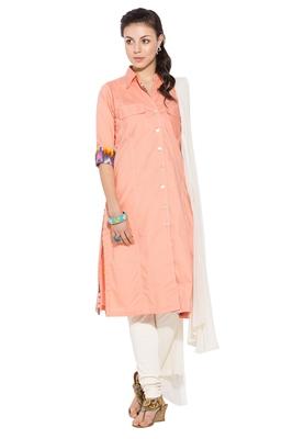 Peach plain cotton salwar