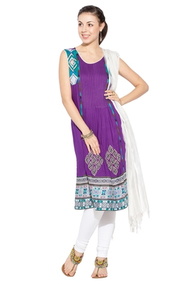 Purple embroidered cotton salwar