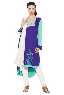 Purple embroidered cotton salwar