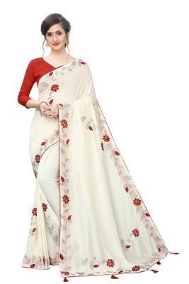 Off white embroidered art silk saree with blouse