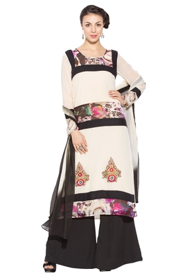White Printed Georgette Salwar
