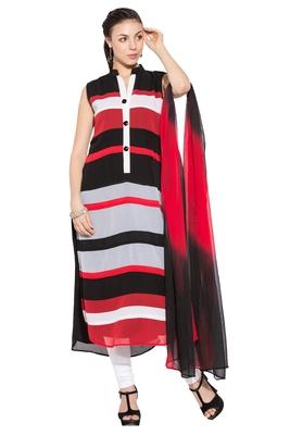 Red Printed Georgette Salwar