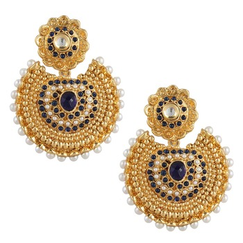 Blue kundan like earrings with pearls a74