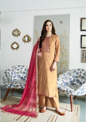 Beige zari cotton salwar