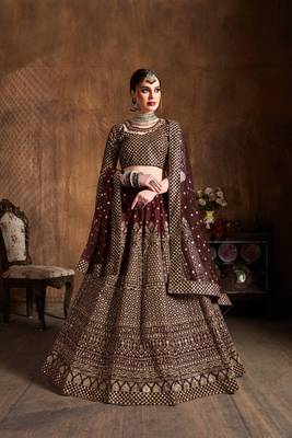 Beautiful Maroon Embroidered Art Silk Wedding Designer Lehenga Choli For Women