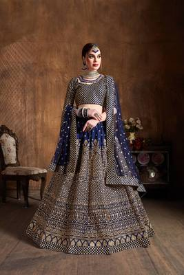 Beautiful Navy-Blue Embroidered Art Silk Wedding Designer Lehenga Choli For Women