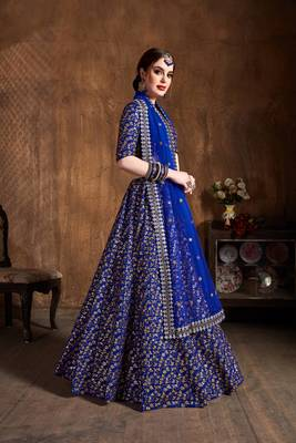 Royal-blue embroidered silk semi stitched lehenga