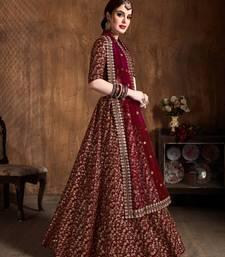 Maroon Heavy Zari And Sequins Embroidered Wedding Bridal Lehenga Choli With Dupatta