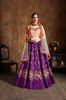 Stunning Purple Embroidered Wedding Designer Girlish Lehenga Choli With Dupatta