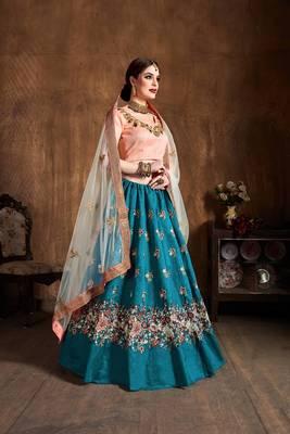 Stunning Teal-Blue Embroidered Wedding Bridal Heavy Designer Lehenga Choli With Dupatta