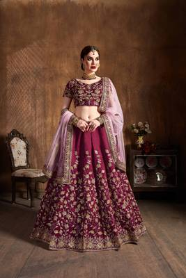 Maroon Embroidered Silk Semi Stitched Wedding Bridal Heavy Lehenga Choli With Dupatta