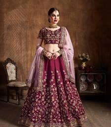 Maroon Embroidered Silk Semi Stitched Wedding Bridal Heavy Lehenga Choli With Dupatta