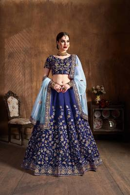 Navy Blue Embroidered Silk Semi Stitched Wedding Bridal Heavy Lehenga Choli For Women
