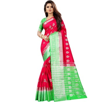Light red woven art silk saree with blouse