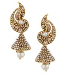 White flower Indian pearl jhumka earring jhumki