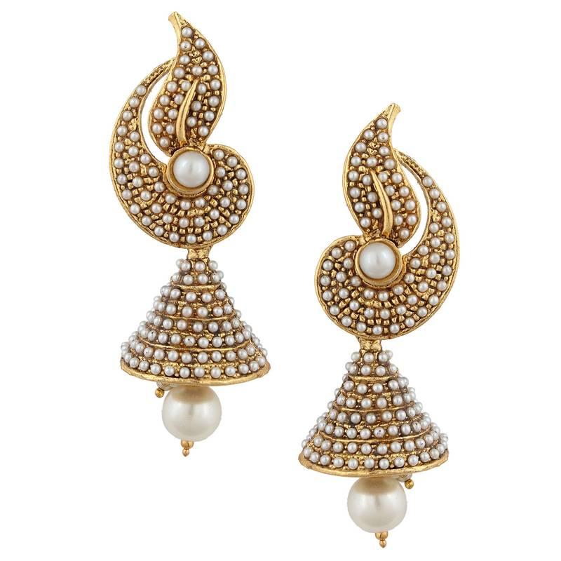White Flower Indian Pearl Jhumka Earring Jhumki