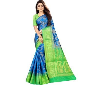 Light blue woven art silk saree with blouse