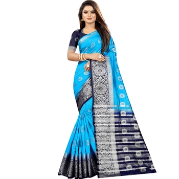 Light blue woven art silk saree with blouse