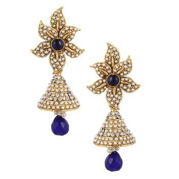 Sunflower pearl polki blue jhumka Indian jhumki earring