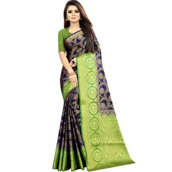 Dark blue woven art silk saree with blouse