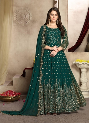 Teal embroidered georgette salwar
