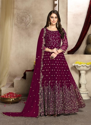 Magenta embroidered georgette salwar