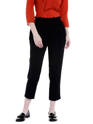 Black Solid casual Pant