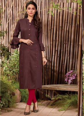 Brown Rayon Hand Woven Long Kurtis
