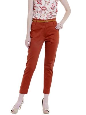 Orange Solid Ankle Length Pant