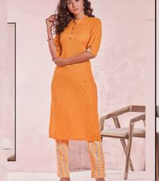 Orange Rayon Plain Kurtas And Kurtis
