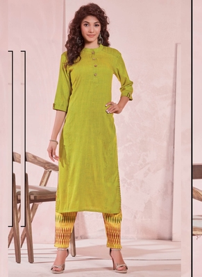 Lime Rayon Plain Kurtas And Kurtis