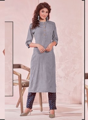 Grey Rayon Plain Kurtas And Kurtis