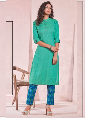 Dark Turquoise Rayon Plain Kurtas And Kurtis