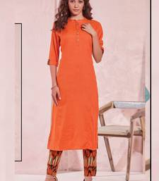 Dark Orange Rayon Plain Kurtas And Kurtis