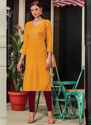 Yellow Rayon Embroidered Long Kurtis