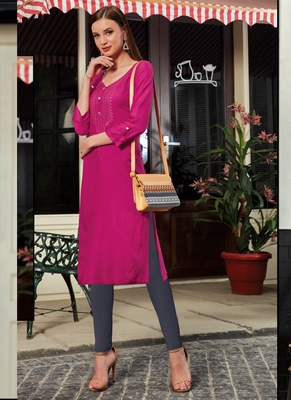Rani Pink Rayon Embroidered Long Kurtis