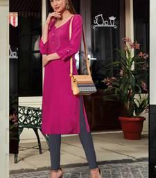 Rani Pink Rayon Embroidered Long Kurtis