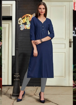 Navy Blue Rayon Embroidered Long Kurtis