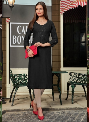 Black Rayon Embroidered Long Kurtis
