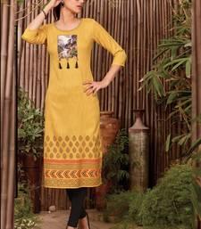 Yellow Rayon Printed Long Kurtis