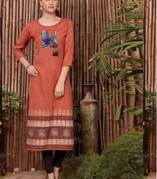 Dark Orange Rayon Printed Long Kurtis