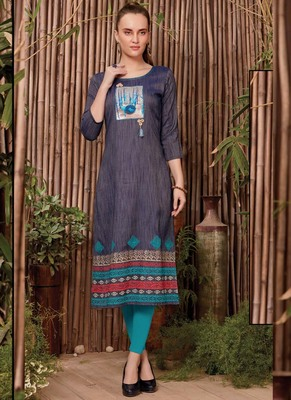 Light Blue Rayon Printed Long Kurtis