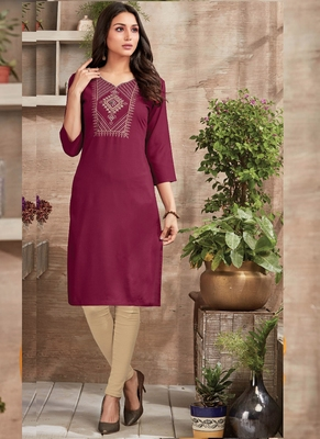 Dark Maroon Rayon Embroidered Long Kurtis