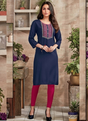 Blue Rayon Embroidered Long Kurtis