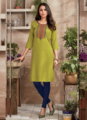 Olive Rayon Embroidered Long Kurtis